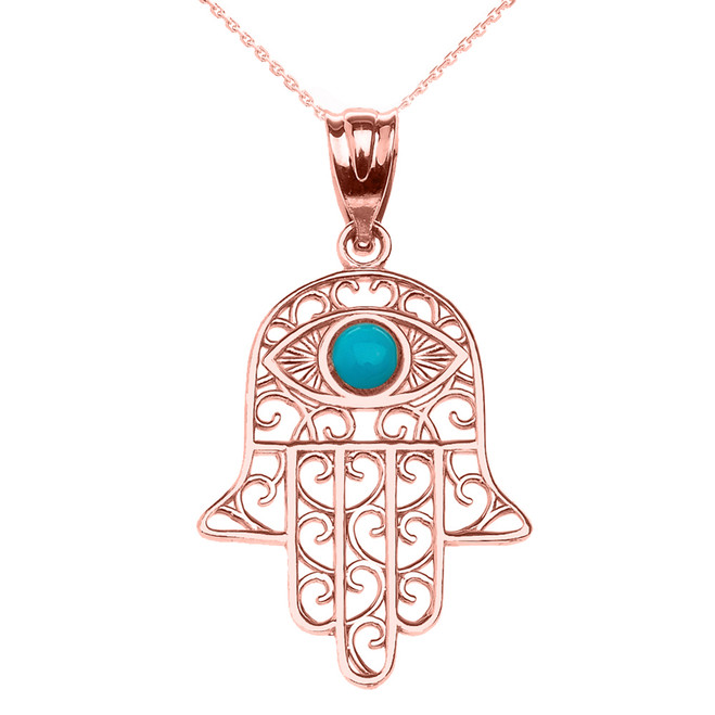 Hamsa Hand With Turquoise Evil Eye Pendant Necklace