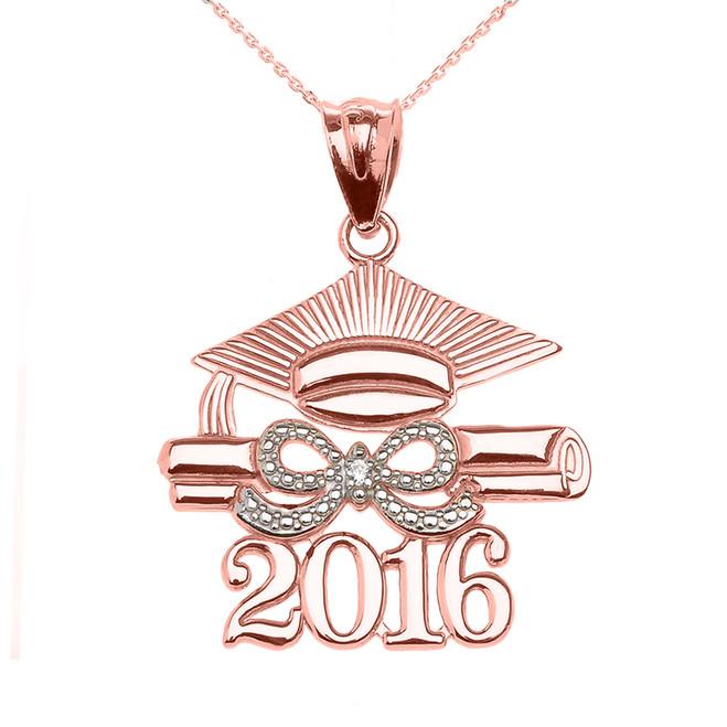 Rose Gold Class of 2016 Graduation Cap Pendant Necklace with Diamond