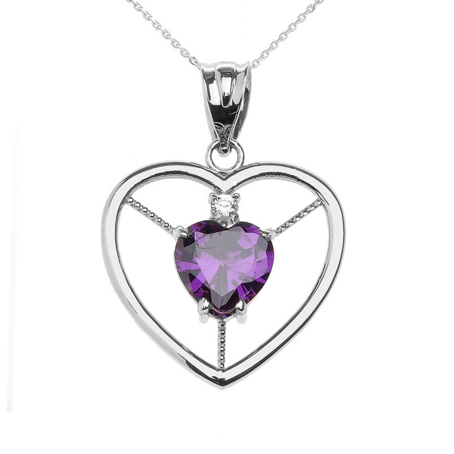 Elegant White Gold CZ and February Birthstone CZ Solitaire Heart Pendant Necklace