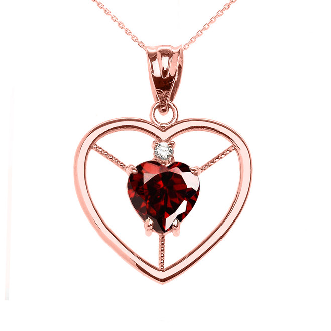 Elegant Rose Gold CZ and January Birthstone CZ Solitaire Heart Pendant Necklace