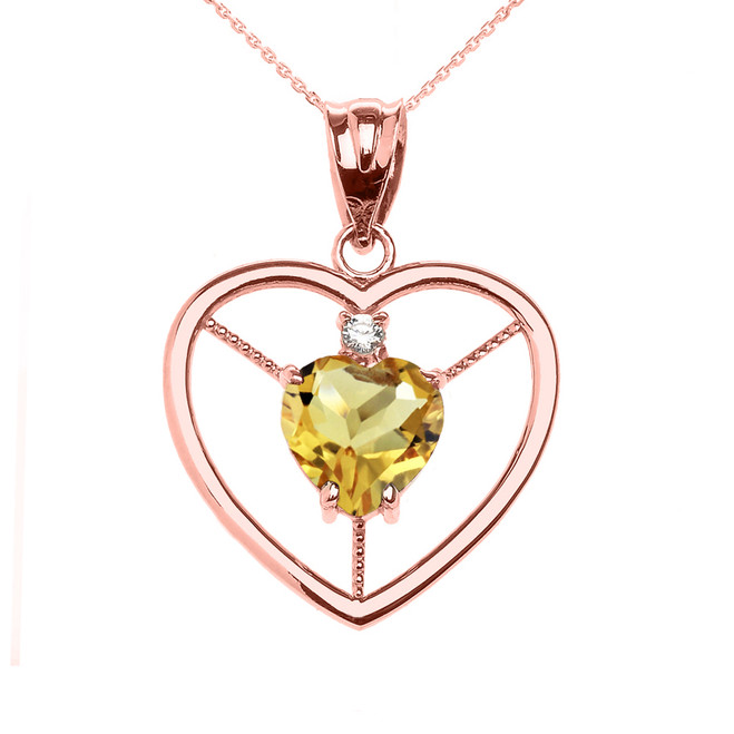 Elegant Rose Gold CZ and November Birthstone CZ Solitaire Heart Pendant Necklace