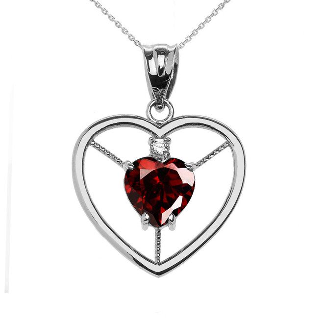 Elegant Sterling Silver CZ and January Birthstone Red Heart Solitaire Pendant Necklace