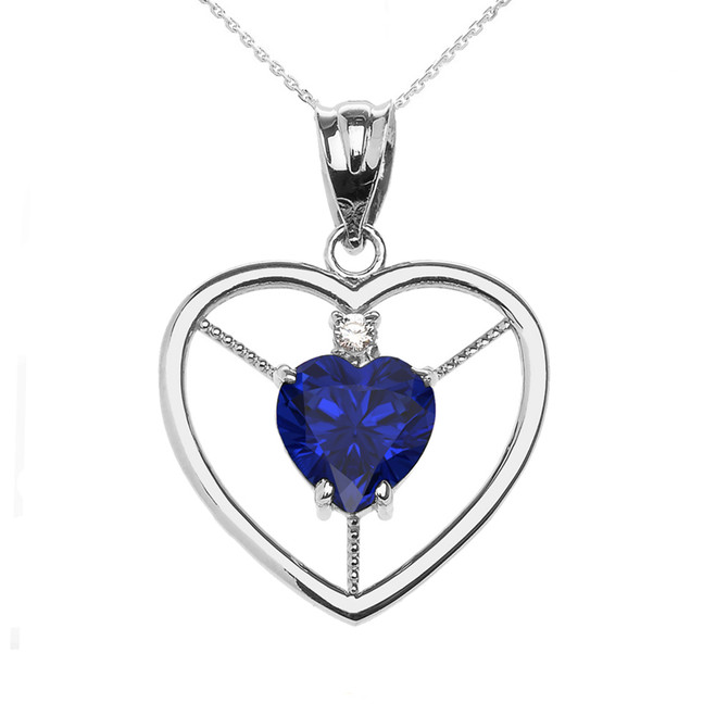 Elegant White Gold CZ and September Birthstone Blue CZ Heart Solitaire Pendant Necklace