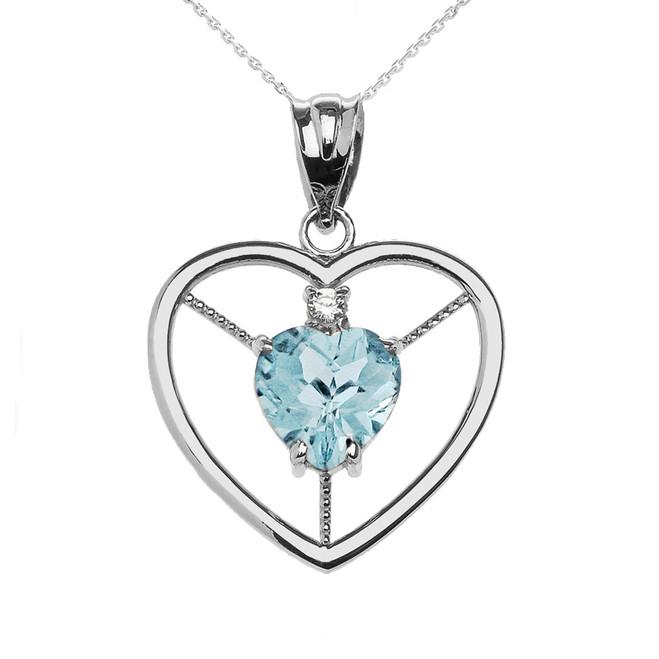 Elegant White Gold CZ and March Birthstone Light Blue Aqua Heart Solitaire Pendant Necklace