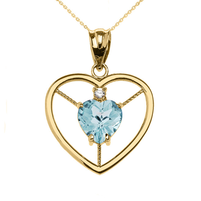 Elegant Yellow Gold CZ and March Birthstone Light Blue Aqua Heart Solitaire Pendant Necklace