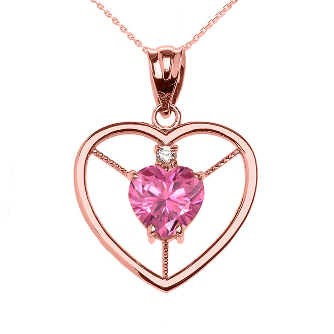 Elegant Rose Gold CZ and October Birthstone Pink CZ Heart Solitaire Pendant Necklace