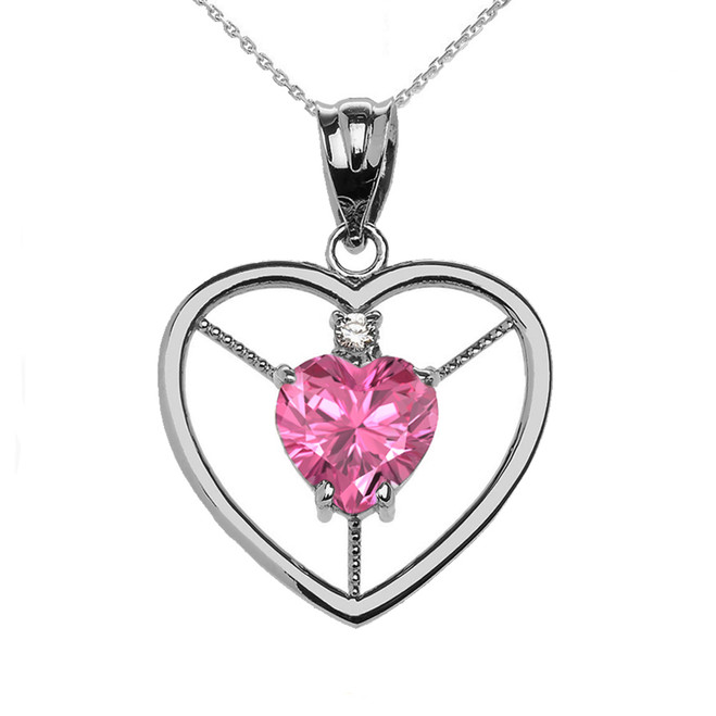Elegant Sterling Silver CZ and October Birthstone Pink CZ Heart Solitaire Pendant Necklace