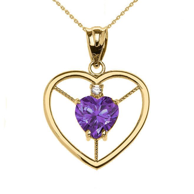 Elegant Yellow Gold CZ and June Birthstone Light Purple CZ Heart Solitaire Pendant Necklace