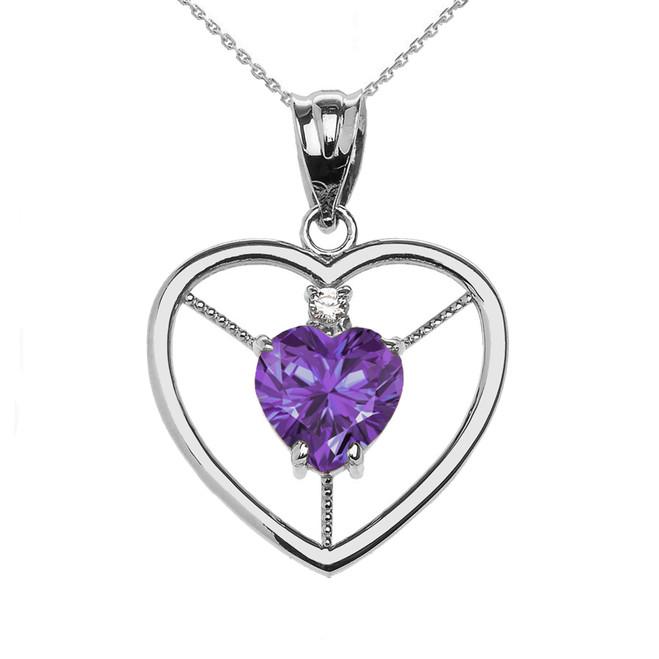 Elegant White Gold CZ and June Birthstone Light Purple CZ Heart Solitaire Pendant Necklace