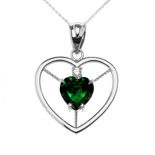 Elegant White Gold CZ and May Birthstone Green CZ Heart Solitaire Pendant Necklace