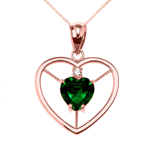 Elegant Rose Gold CZ and May Birthstone Green CZ Heart Solitaire Pendant Necklace