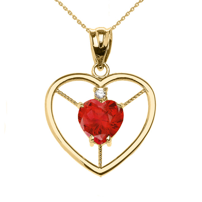 Elegant Yellow Gold CZ and July Birthstone Red CZ Heart Solitaire Pendant Necklace