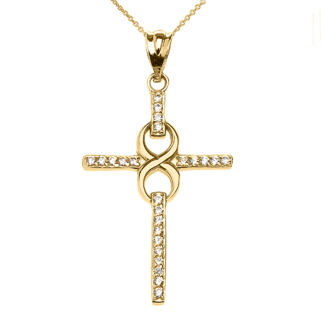 Yellow Gold and Diamond Infinity Cross Pendant Necklace
