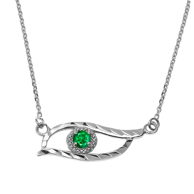 Sterling Silver Diamond Cut Lab Created Emerald  Evil Eye Pendant Necklace