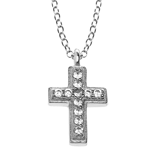 Sterling Silver and CZ  Dainty Cross Pendant Necklace