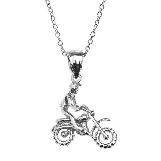 White Gold Off Road Mountain Motorcycle Pendant Necklace