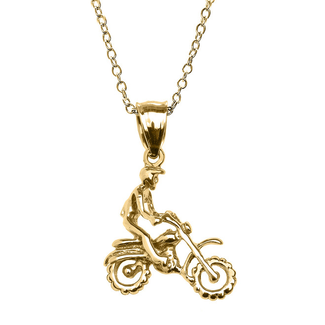 Yellow Gold Off Road Mountain Motorcycle Pendant Necklace