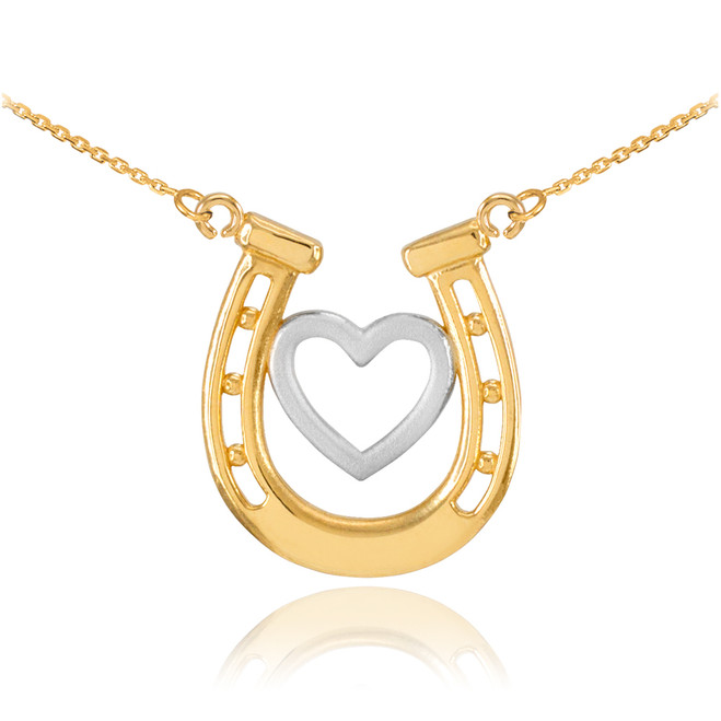 14k Two-Tone Gold Lucky Charm Horseshoe with Heart Necklace