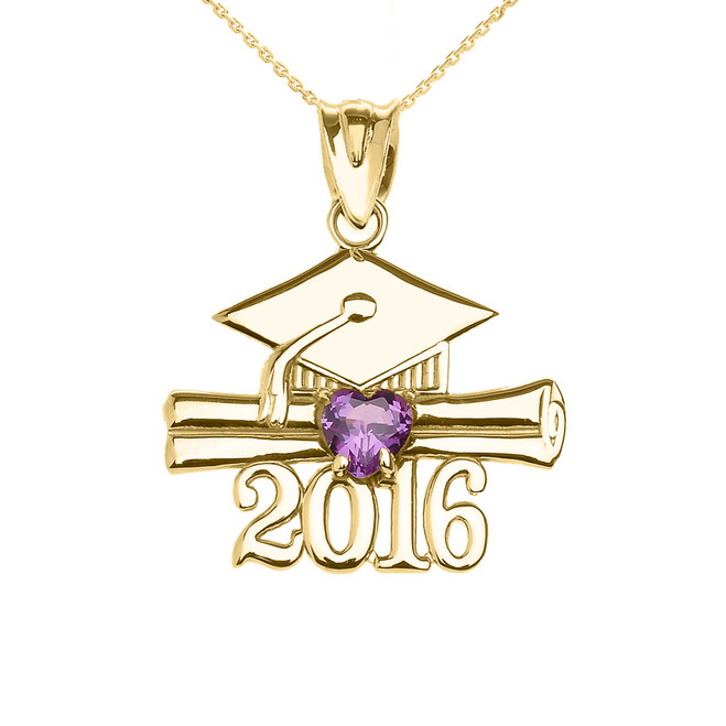 Yellow Gold Heart February Birthstone Purple Cz Class of 2016 Graduation Pendant Necklace