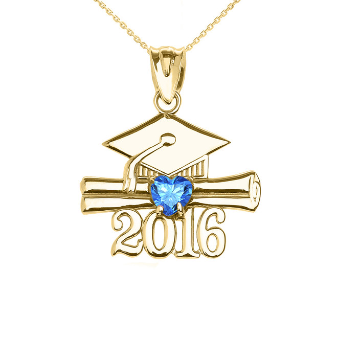 Yellow Gold Heart December Birthstone Light Blue CZ Class of 2016 Graduation Pendant Necklace