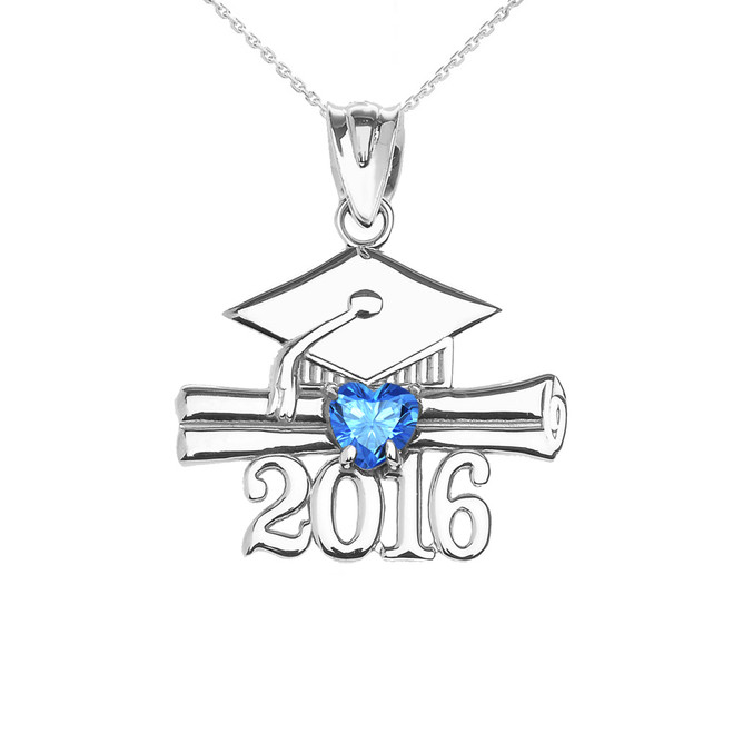 White Gold Heart December Birthstone Light Blue CZ Class of 2016 Graduation Pendant Necklace