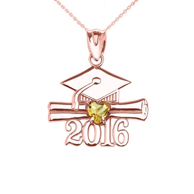 Rose Gold Heart November Birthstone Yellow Cz Class of 2016 Graduation Pendant Necklace
