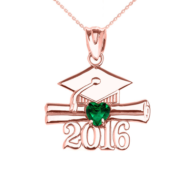 Rose Gold Heart May Birthstone Green Cz Class of 2016 Graduation Pendant Necklace