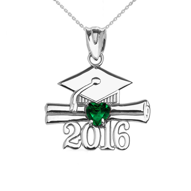 Sterling Silver Heart May Birthstone Green Cz Class of 2016 Graduation Pendant Necklace