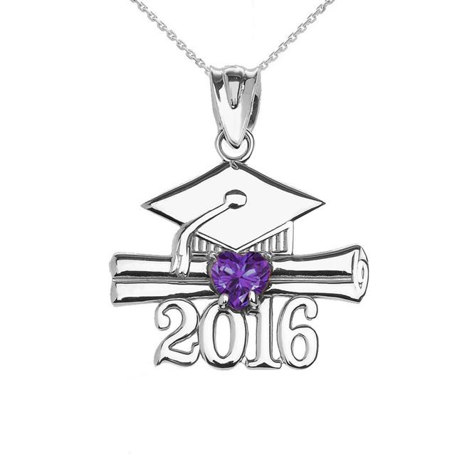 Sterling Silver Heart June Birthstone Purple Cz Class of 2016 Graduation Pendant Necklace