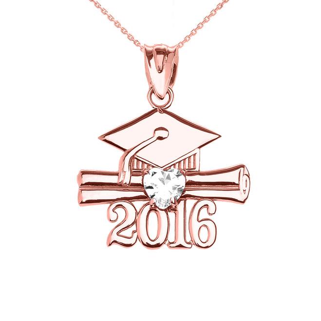 Rose Gold Heart April Birthstone White CZ Class of 2016 Graduation Pendant Necklace
