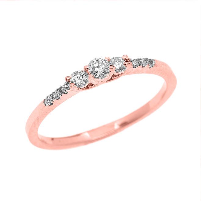 Rose Gold Three Stone Diamond Dainty Engagement Proposal Ring