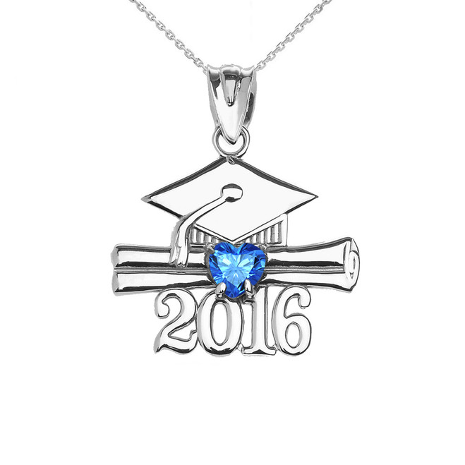 Sterling Silver Heart December Birthstone Light Blue Cz Class of 2016 Graduation Pendant Necklace