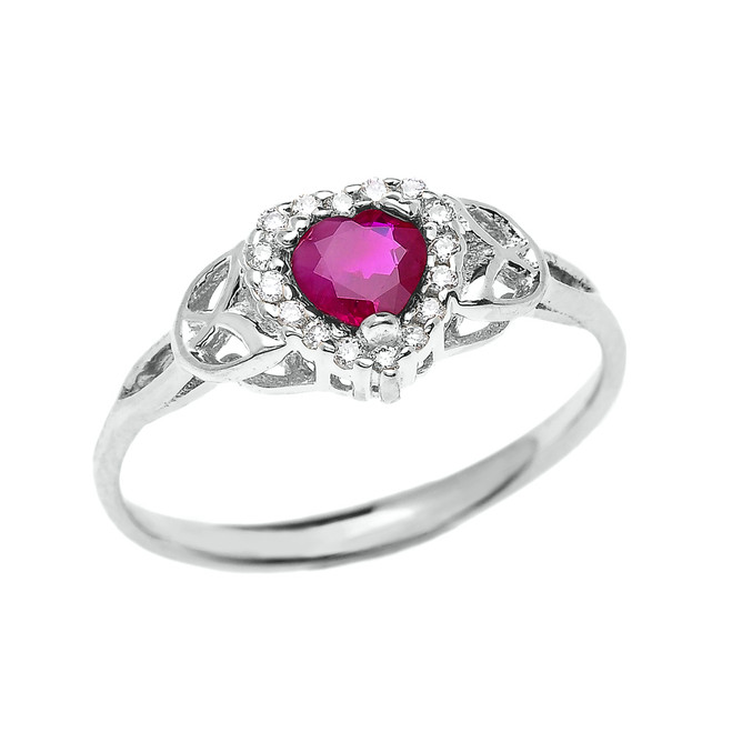 Elegant White Gold Diamond and Ruby Heart Trinity Knot Engagement Proposal Ring