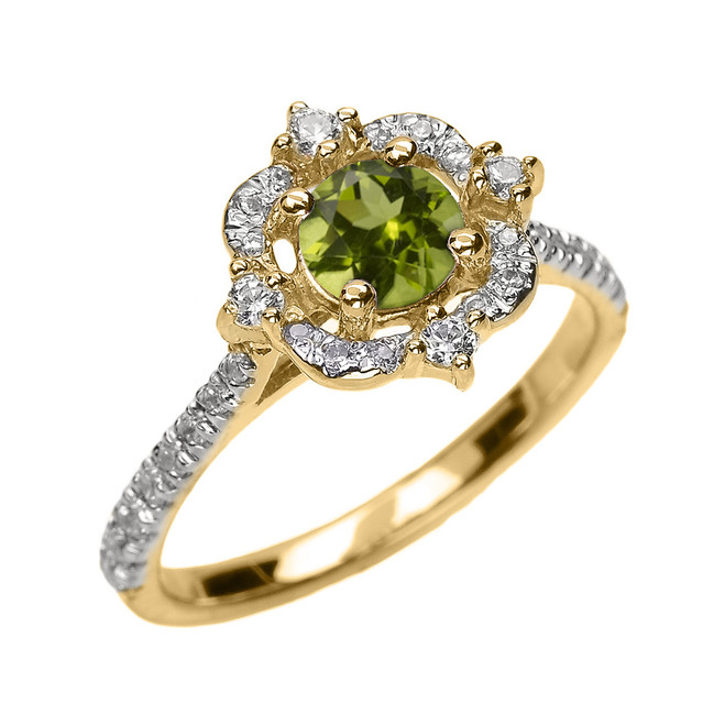 Yellow Gold Genuine Peridot And Diamond Dainty Engagement Proposal Ring