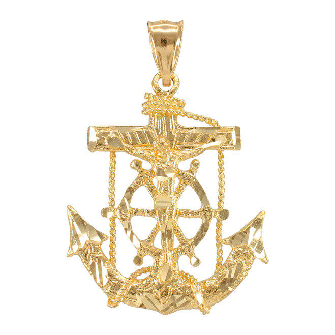 Yellow Gold Mariner Crucifix Cross Anchor Pendant