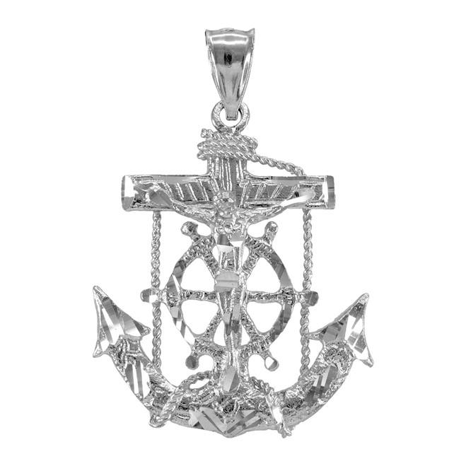 White Gold Mariner Crucifix Cross Anchor Pendant