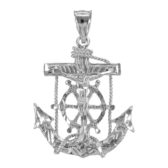 925 Sterling Silver Mariner Crucifix Cross Anchor Pendant