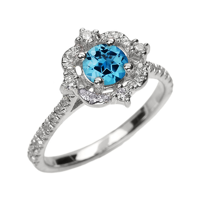 White Gold Genuine Blue Topaz And Diamond Dainty Engagement Proposal Ring