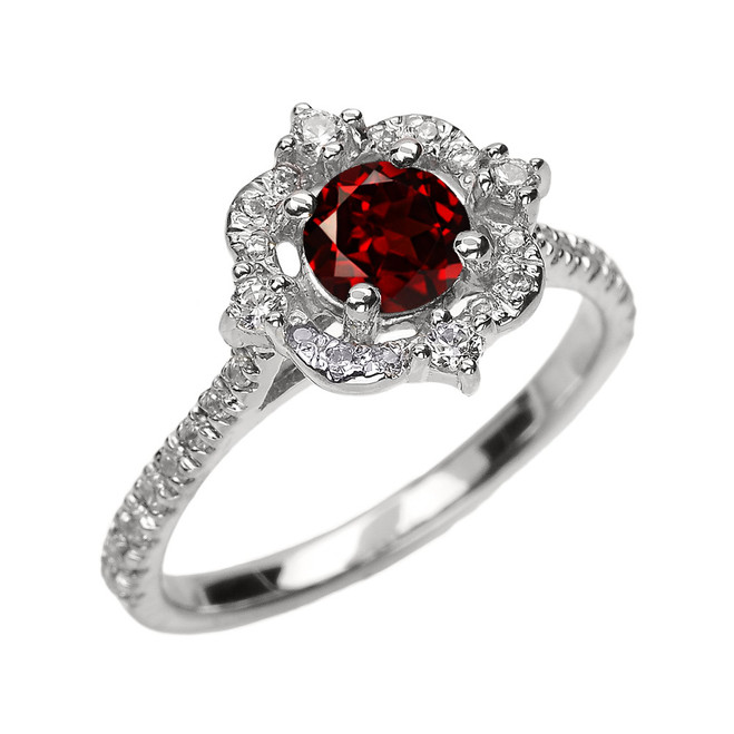 White Gold Genuine Garnet And Diamond Dainty Engagement Proposal Ring