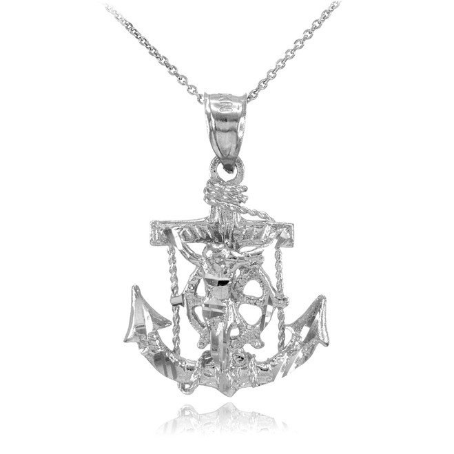 White Gold Mariner Crucifix Anchor Cross Pendant Necklace