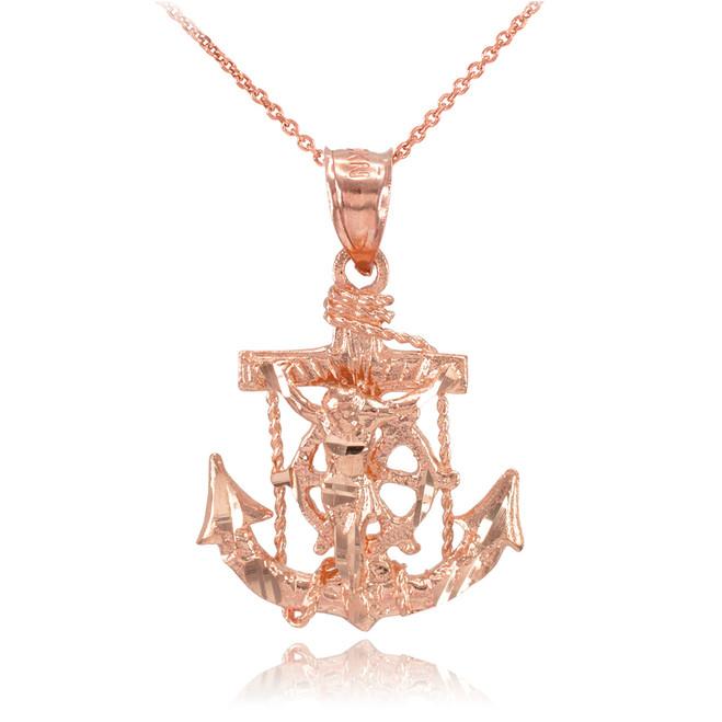 Rose Gold Mariner Crucifix Anchor Cross Pendant Necklace