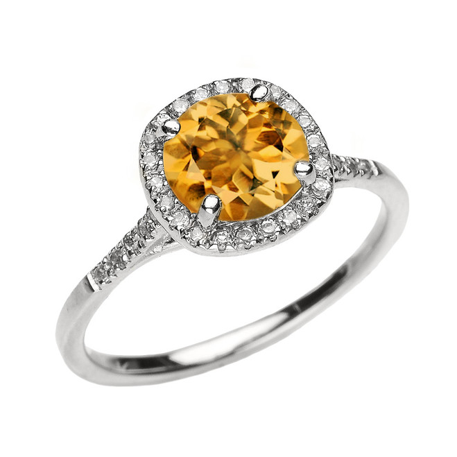 White Gold Halo Diamond and Genuine Citrine Dainty Engagement Proposal Ring