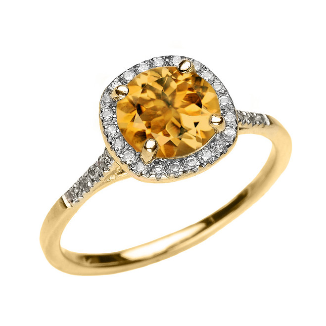 Yellow Gold Halo Diamond and Genuine Citrine Dainty Engagement Proposal Ring