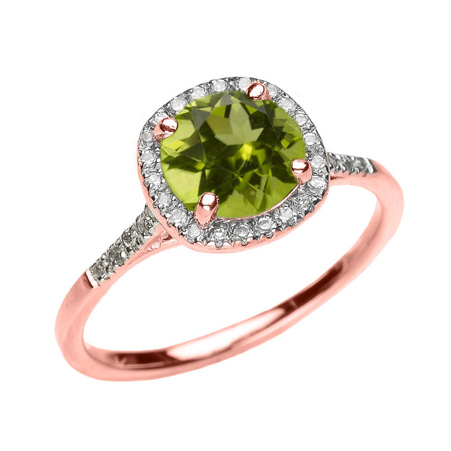 Rose Gold Halo Diamond and Genuine Peridot Dainty Engagement Proposal Ring