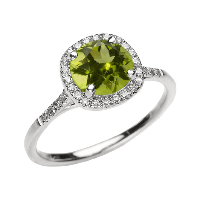 White Gold Halo Diamond and Genuine Peridot Dainty Engagement Proposal Ring