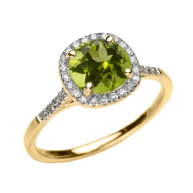 Yellow Gold Halo Diamond and Genuine Peridot Dainty Engagement Proposal Ring