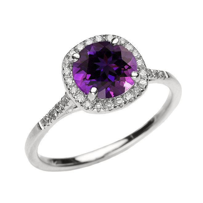 White Gold Halo Diamond and Genuine Amethyst Dainty Engagement Proposal Ring