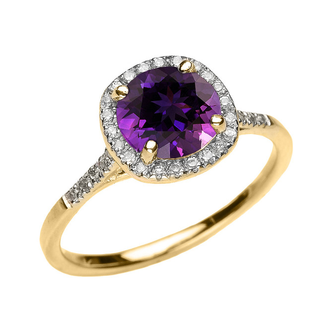 Yellow Gold Halo Diamond and Genuine Amethyst Dainty Engagement Proposal Ring