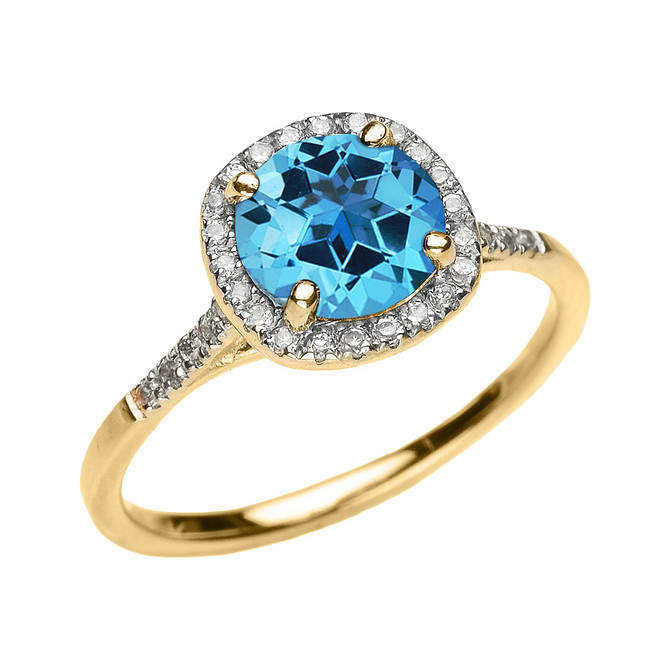 Yellow Gold Halo Diamond and Genuine Blue Topaz Dainty Engagement Proposal Ring