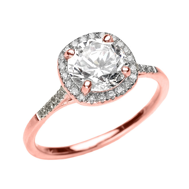 Rose Gold Halo Diamond and Genuine White Topaz Dainty Engagement Proposal Ring